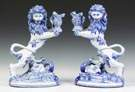 A Pair of Galle French Faience Lion-Form Candle Holders