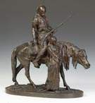 Attr to Pierre Jules Mene (French, 1810-1879) Bronze Sculpture of an Arab figure on horse with slave girl