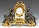 French Gilt Bronze & Marble Figural Shelf Clock