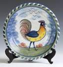 Early Delft Charger w/Polychrome Rooster Decoration
