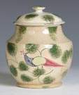 Early Decorated Sponge & Peacock Creamware Sugar Bowl