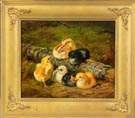 Arthur Fitzwilliam Tait (American, 1819-1905) Chicks resting on a log