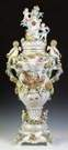 Monumental Dresden Armorial Covered Urn on Stand