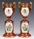 Two Bohemian Cranberry & Gilded Urns