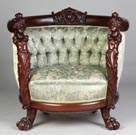 Carved Mahogany Settee & Matching Arm Chair