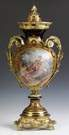 Sevres Style French Porcelain & Gilt Brass Covered Urn
