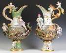 "Pair of Monumental Meissen Ewers from the ""Four Elements"" Series"