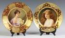 Two Austrian Hand Painted & Enameled Porcelain Plates