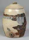 Unusual Whites Utica Polychrome Decorated Water Cooler