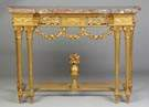Louis XVI Carved & Gilt Wood Console Table with Marble Top