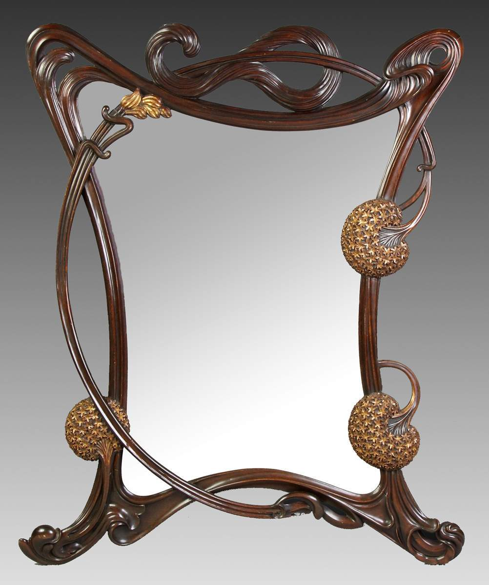 Fine Art Nouveau Carved Mahogany Gilded Wall Mirror