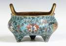 Sgn. Chinese, 3-Footed Cloisonne Bronze Censor
