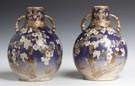 Pair of Japanese Satsuma Baluster Vases