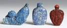 Carved Lapis Snuff Bottles & Cinnabar Snuff Bottle