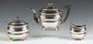I. W. Forbes 3-Piece Coin Silver Tea Set