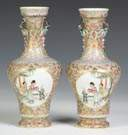 A Pair of Signed Famille Vases