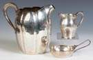Sterling Silver Water Pitcher, Cream Pitcher & Porringer