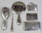 Gorham Sterling Silver Dresser Set together with Three Sterling Boxes