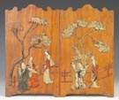 Two Chinese Wood Panels w/Carved Hard Stone