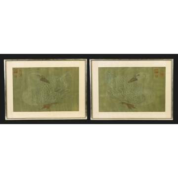 Pair of Sgn. Woodblock prints of swans
