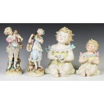 German Hand Painted Bisque Piano Babies