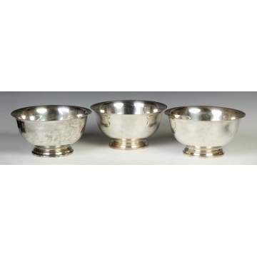 Group of 3 Matching Giralda Sterling Silver Footed Bowls