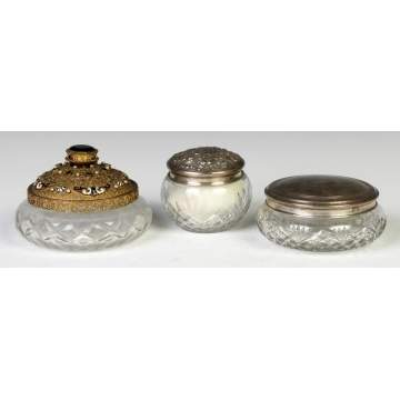 Three Cut Glass Dresser Jars