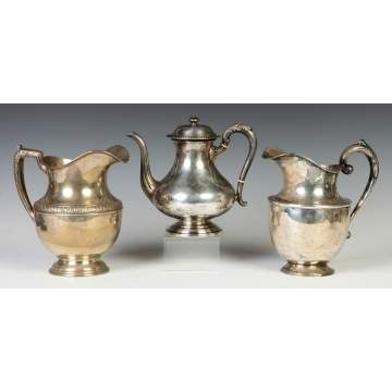 Two Sterling Water Pitchers & Teapot