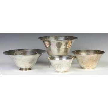 Four Tiffany & Co. Makers Sterling Silver Bowls