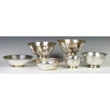 Group of Six Sterling Silver Bowls