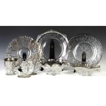 Group of Silver Overlay Engraved Glass