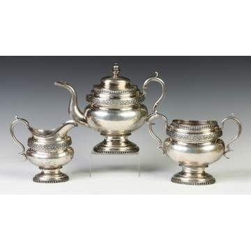 J. Stodder, NY, 3-Pc. Coin Silver Tea Set