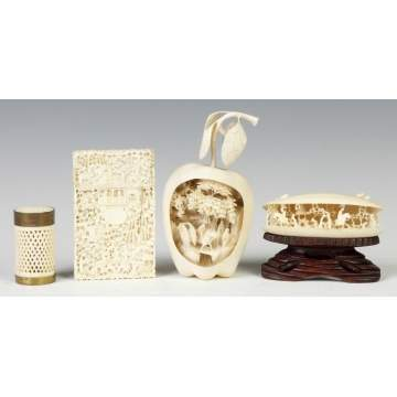 Group of Carved Ivory Asian Objects