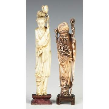 2 Chinese Carved Ivory Figures