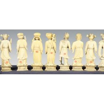 Group of 8 Chinese Sgn. Carved Ivory Immortals