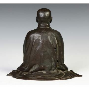 Chinese Patinated Bronze Seated Court Figure
