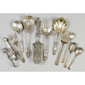 Group of 12 Victorian Sterling Silver Serving Pieces