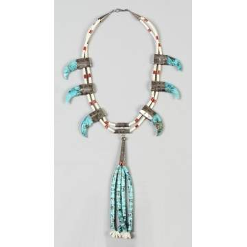 Turquoise, Beaded & Silver Necklace