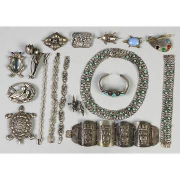 Group of Various Silver, Mexican & Turquoise Jewelry