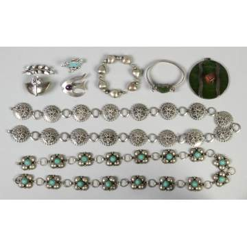 Group of Various Silver Southwest & Turquoise Jewelry