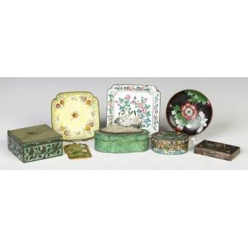 Various Chinese Covered Boxes & Enameled Trays