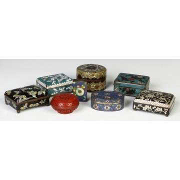 Chinese Cloisonné Covered Boxes
