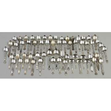 Large Group of Sterling Silver Spoons