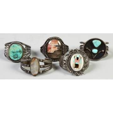 Five Silver, Turquoise & Hard stone Southwest Cuff Bracelets