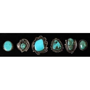 Group of 6 Silver & Turquoise Southwest Rings