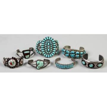 Five Silver & Turquoise Southwest Cuff Bracelets