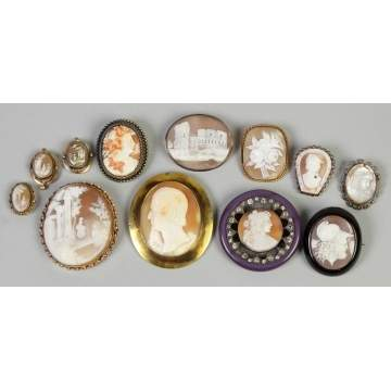 Group of Vintage Cameo Pins