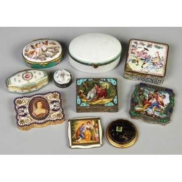 Group of Various Porcelain & Silver Enameled Boxes