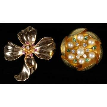 Gold Flower Brooches