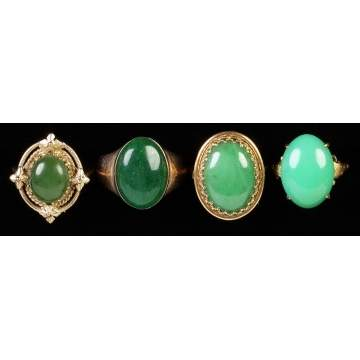 Four Gold & Jadeite Rings
